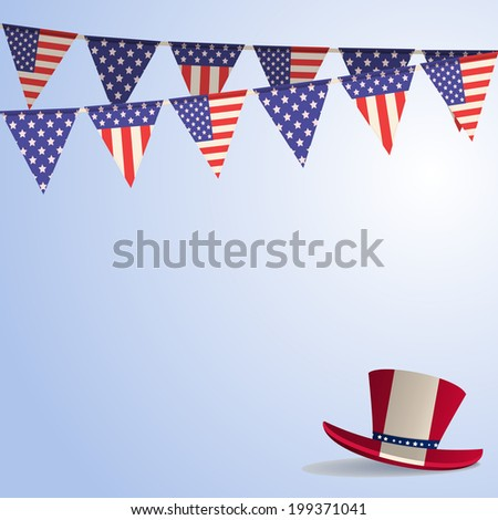 Independence Day Background with Hat Bunting
