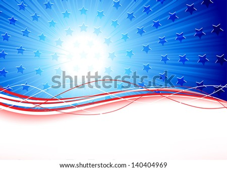 Independence day background with stars and lines, illustration. - stock vector