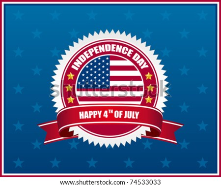 independence day badge on patriotic background - stock vector