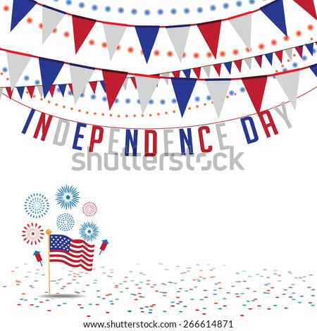 Independence Day bunting background. EPS 10 vector Royalty free stock illustration for ad, promotion, poster, flier, blog, article, social media, marketing - stock vector