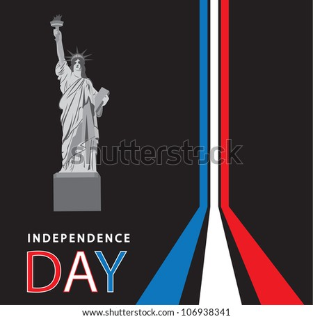 Independence day canvas with Statue of Liberty, vector illustration - stock vector
