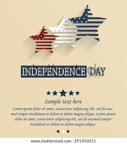 Independence Day card with space for your text. 4th Of July. Red, white and blue stars. Vector illustration. - stock vector