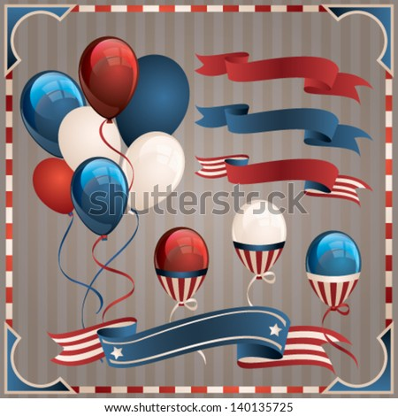 Independence Day design elements collection. Vector set - stock vector