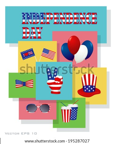 Independence Day Design Elements Set Accessories Stock Vector Hd