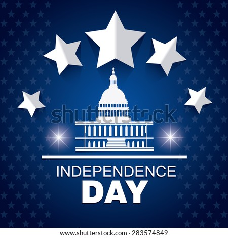 Independence day design over blue background, vector illustration.