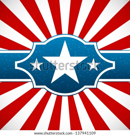 Independence day design with star label and sunburst stripes - stock vector