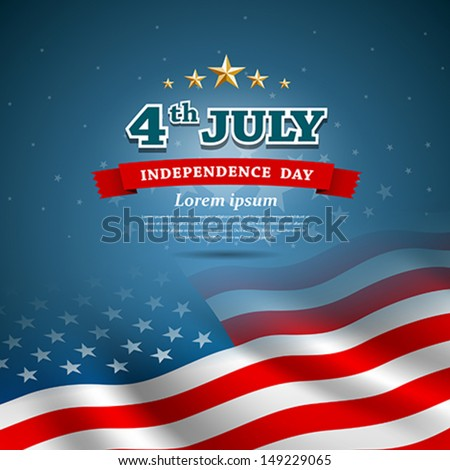 Independence day Flag of American design background, vector illustration - stock vector