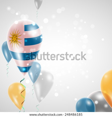 Independence Day. Flag of Uruguay on air balloon. Celebration and gifts. Balloons on the feast of the national day.  Use for brochures, printed materials, signs, elements - stock vector