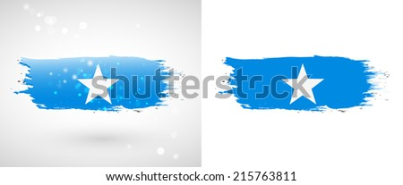 Independence Day. Flag painted with a brush with paint. Grungy flag. Grungy style. Brushstroke. Use for brochures, printed materials, icons, logos, signs,  elements, etc. Flag of Somalia - stock vector