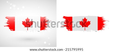 Independence Day. Flag painted with a brush with paint. Grungy flag. Grungy style. Brushstroke. Use for brochures, printed materials, icons, logos, signs,  elements, etc. Flag of Canada - stock vector