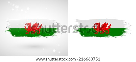 Independence Day. Flag painted with a brush with paint. Grungy flag. Grungy style. Brushstroke. Use for brochures, printed materials, icons, logos, signs,  elements, etc. Flag of Wales - stock vector
