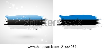 Independence Day. Flag painted with a brush with paint. Grungy flag. Grungy style. Brushstroke. Use for brochures, printed materials, icons, logos, signs,  elements, etc. Flag of Estonia - stock vector