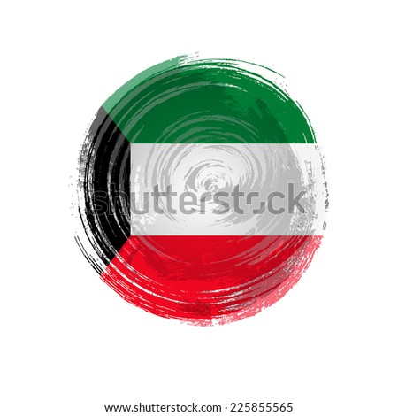 Independence Day. Flag painted with a brush with paint. Grungy flag. Grungy style. Brushstroke. Use for brochures, printed materials, icons, logos, signs,  elements, etc. Flag of Kuwait - stock vector