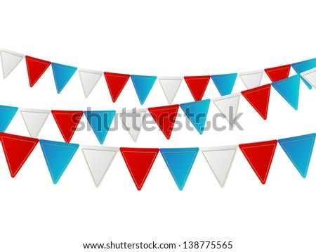 Independence day flags on white - stock vector