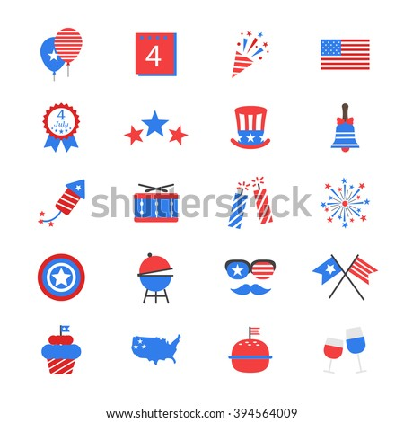 Independence Day Flat Color Icons - stock vector
