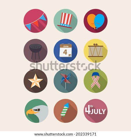 Independence day flat icons - stock vector