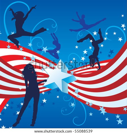 independence day girl dancer cool vector