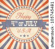 Independence Day greeting card in vintage style - stock photo