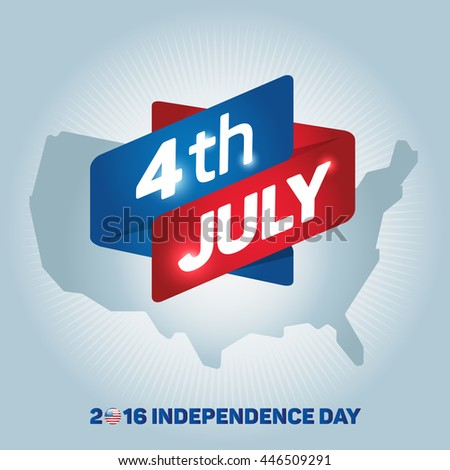Independence Day icon. 4th of July. Map of the United States of America. US flag. Color map icon isolated on gray background. Vector illustration - stock vector