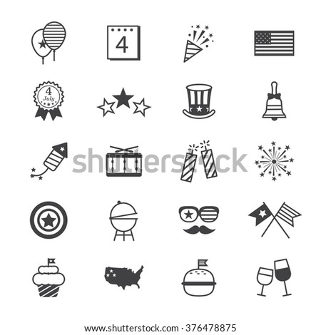 Independence Day Icons Line - stock vector