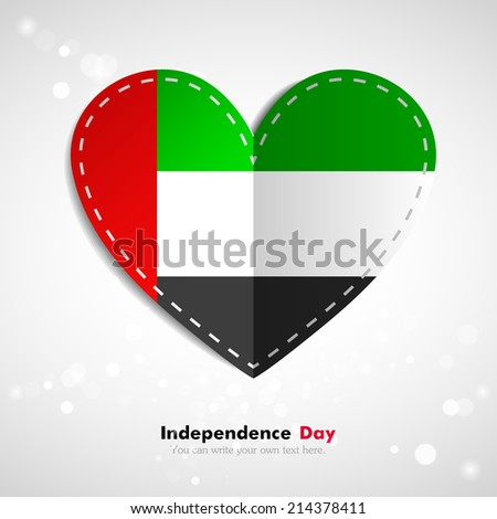Independence Day. Love of country. Flag in the form of a paper heart. Use for brochures, printed materials, icons, logos, signs,  elements, etc. Flag of United Arab Emirates - stock vector