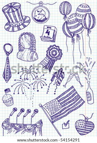 Independence day of America doodles - stock vector