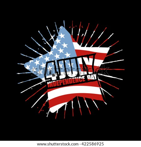 Independence Day of America Emblem. Star and flag USA in grunge style. Symbol for national patriotic national holiday in United States July 4th 