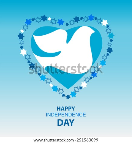 independence day of Israel, david  stars and peace white dove - stock vector