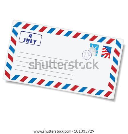 Independence Day - 4 of July. Congratulation letter with American postage stamps - stock vector