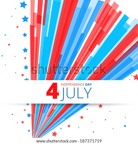 Independence Day- 4 of July  - retro fireworks card design