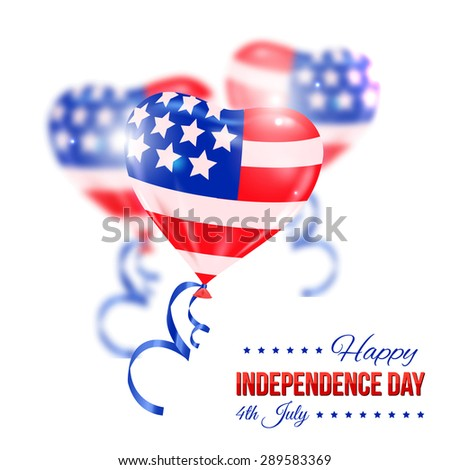 Independence day of the USA typographical background. Shining realistic balloons and place for text - stock vector
