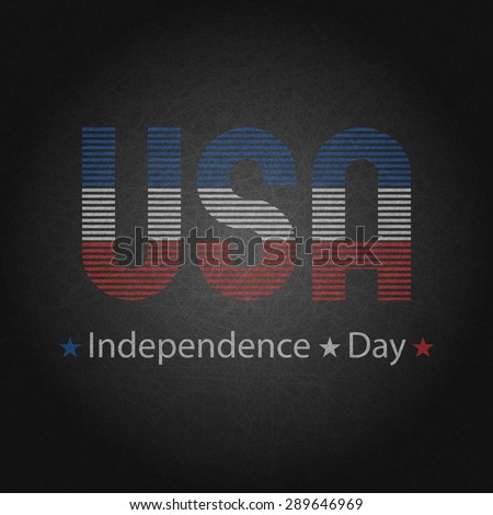 Independence day of USA 4th July greeting poster,  the American national colors, template print for t-shirt - stock vector