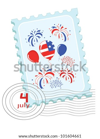 Independence Day . Postage stamp - stock vector