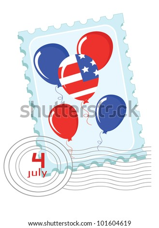Independence Day . Postage stamp with balloons. - stock vector