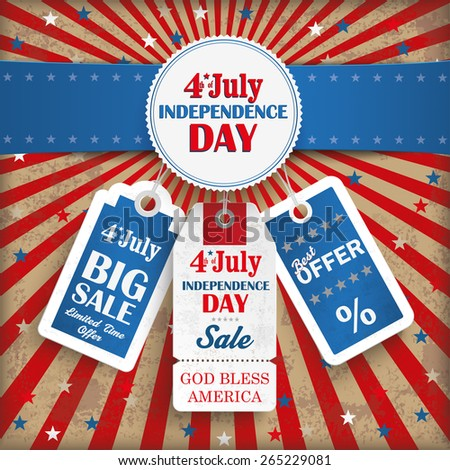 Independence day retro flyer with blue banner. Eps 10 vector file. - stock vector
