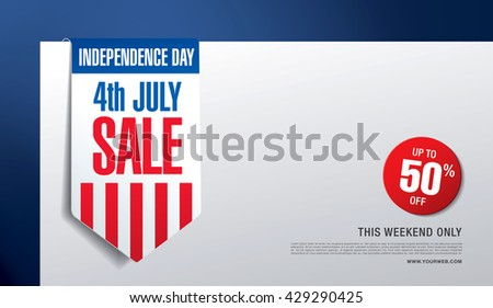 Independence day sale banner template design - stock vector