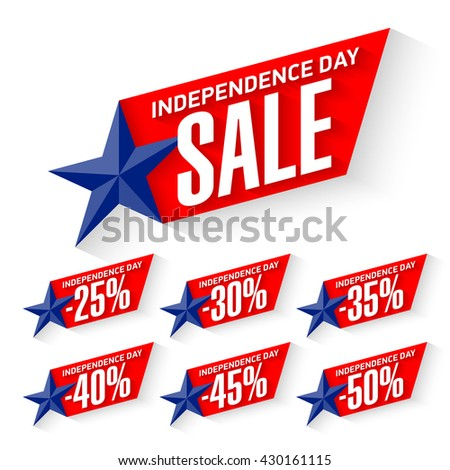 Independence Day Sale discount labels vector illustration - stock vector