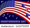 Independence Day. Text and balloons with the pattern of the American flag. 10eps. Vector illustration.    - stock vector