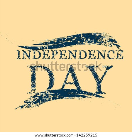 Independence Day text on isolated brown background. - stock vector