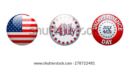 Independence day - three badges isolated on white background, vector illustration, eps 10 with transparency - stock vector