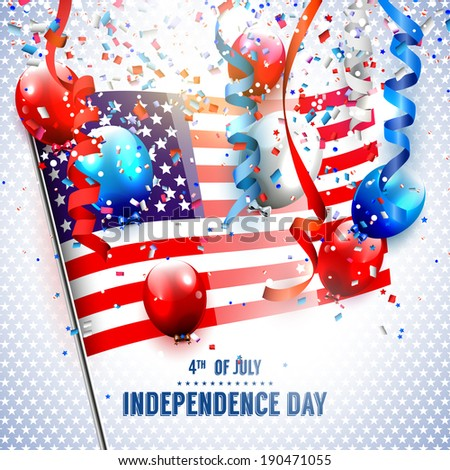 Independence day - vector background with american flag and balloons