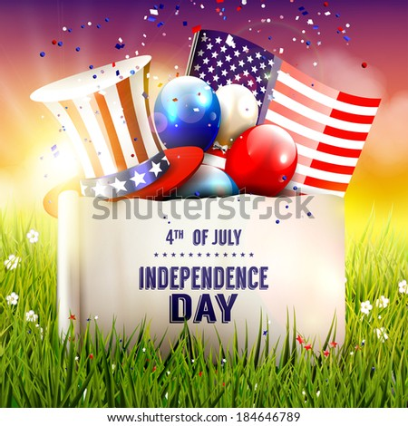 Independence day - vector poster with hat, balloons and American flag in the grass - stock vector