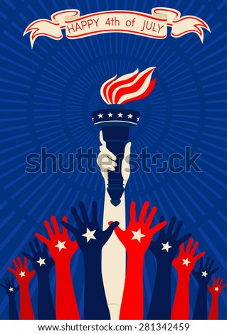 Independence of the United States in vintage style with hands raised up