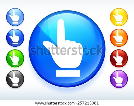 Index Finger Pointing on Colorful Round Button