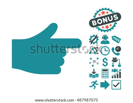 Index Hand icon with bonus pictures. Vector illustration style is flat iconic bicolor symbols, soft blue colors, white background.
