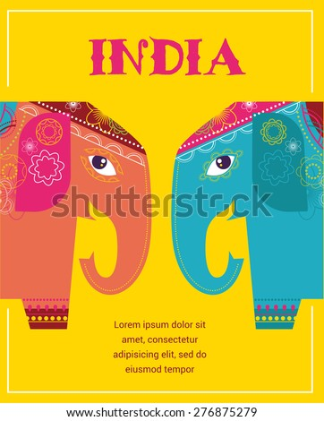 India - background with patterned colorful elephants - stock vector