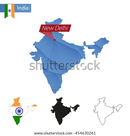 India blue Low Poly map with capital New Delhi, versions with flag, black and outline. Vector Illustration. - stock vector