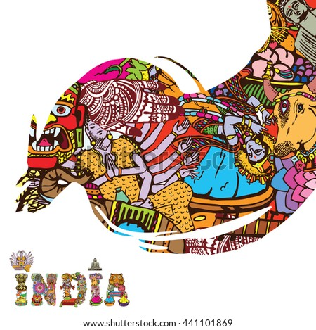 India Collage  art card with text - stock vector
