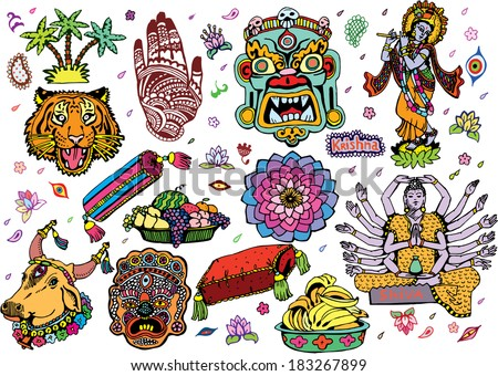 India Collection Colorful (EPS10 Vector doodles) - stock vector