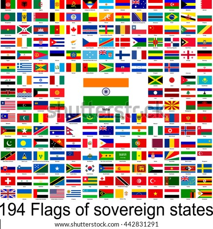 India, collection of vector images of flags of the world